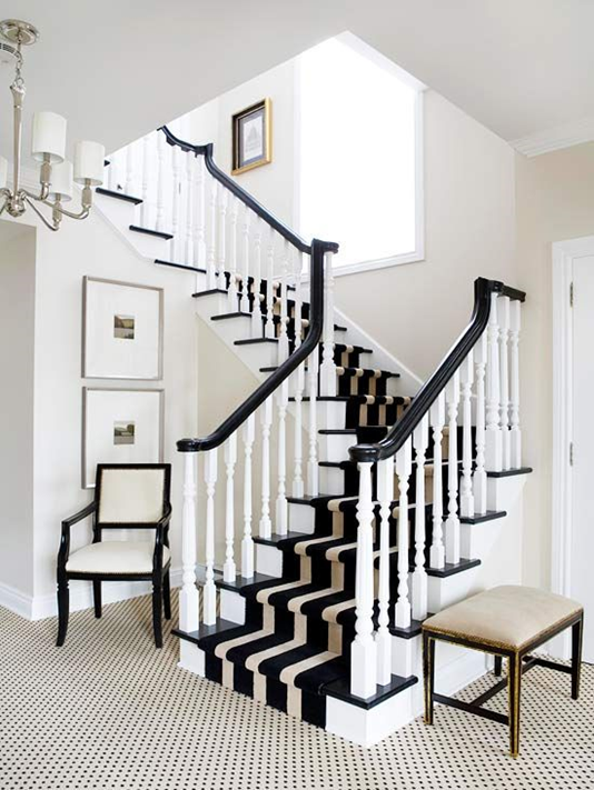 Contemporary 5 Ways to Dress Wood Stairs. Carpet RunnerWhite StaircaseBlack ... black and white stair runner