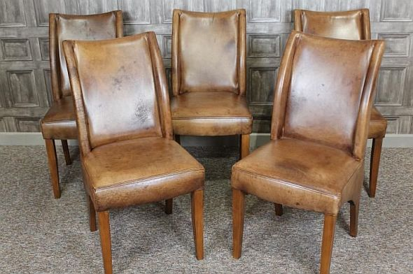 Contemporary Aged Leather Vintage Style Dining Chairs
