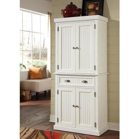 Contemporary Amazon.com: Home Styles 5022-69 Nantucket Pantry, Distressed White Finish: kitchen storage cabinets free standing