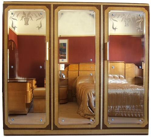 Contemporary Art Deco Epstein triple mirror wardrobe triple mirrored wardrobe