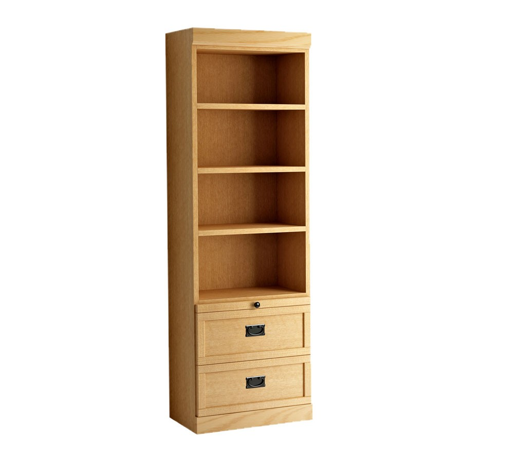 Contemporary Bookcase w/Bottom Drawers - MIssion Style, Oak/Honey bookcase with drawers