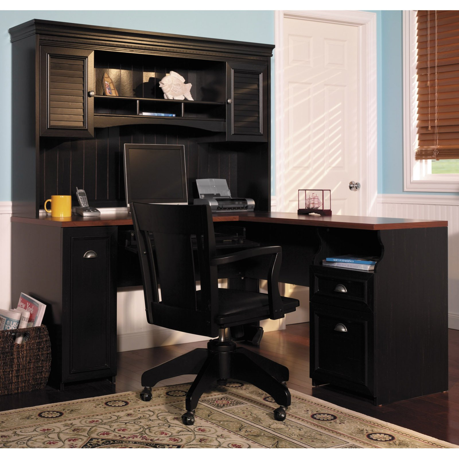 Contemporary Bush Fairview L-Shaped Computer Desk with Optional Hutch - Antique White - l shaped computer desk with hutch