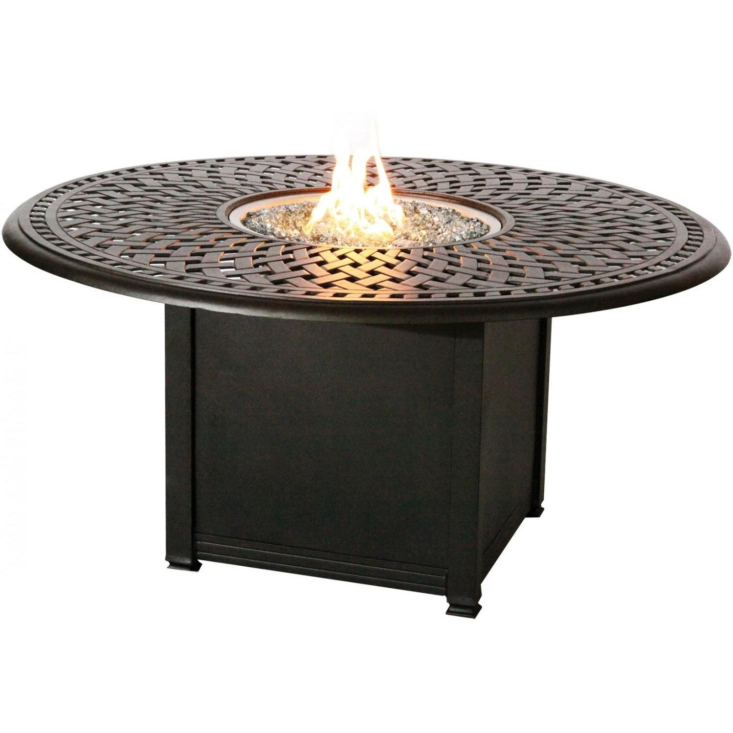 Contemporary Darlee Round Patio Conversation Table With Propane Fire Pit - Antique Bronze propane patio fireplace