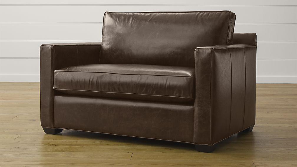 Contemporary Davis Leather Twin Sleeper Sofa ... twin sleeper sofa chair