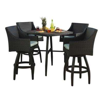 Contemporary Deco 5-Piece All-Weather Wicker Patio Bar Height ... 5 piece bar height patio set