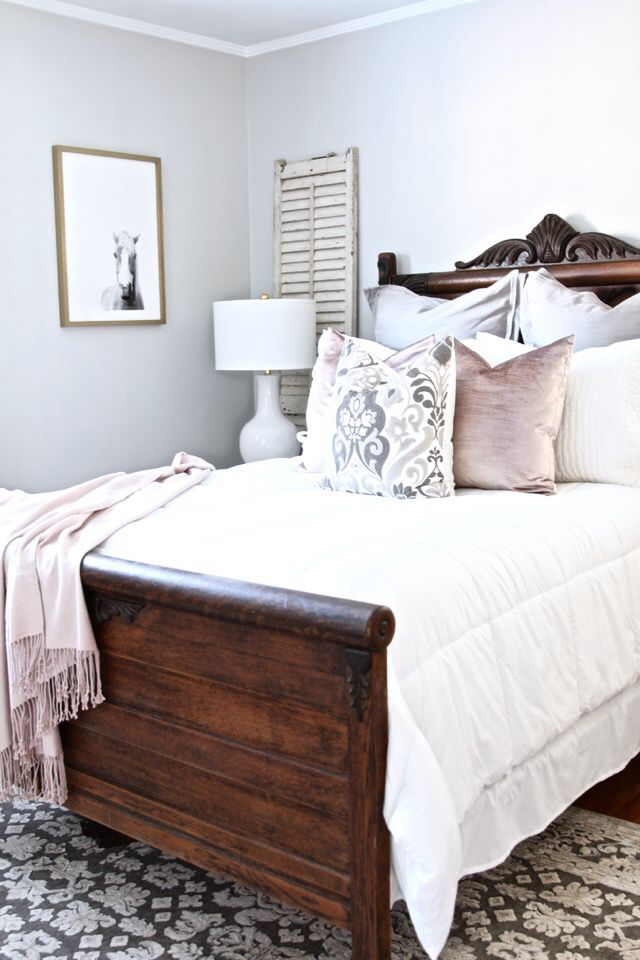 Contemporary I love the bedding colours with the dark wood, exact same as dark wood bed frame