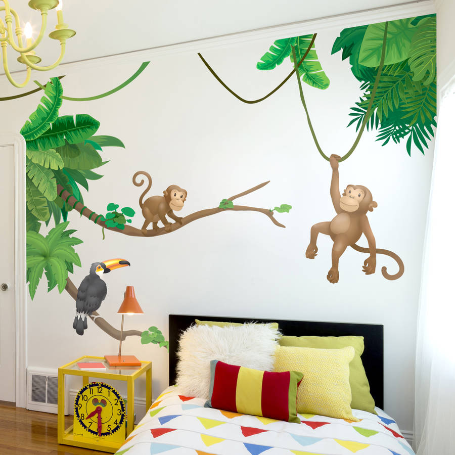Contemporary Jungle Monkey Childrenu0027su0027 Wall Sticker Set jungle wall stickers