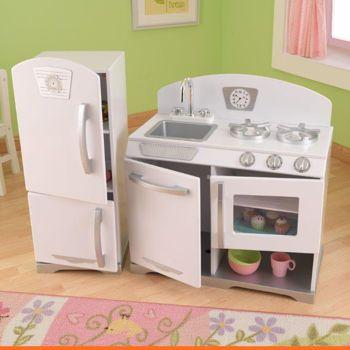 Contemporary KidKraft 2pc. Retro Kitchen - White kidkraft retro kitchen