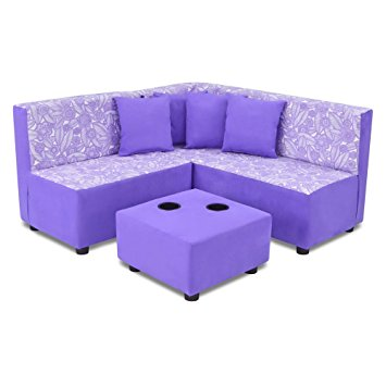 Contemporary Kids Sectional and Ottoman with Cup Holder kids sectional sofa