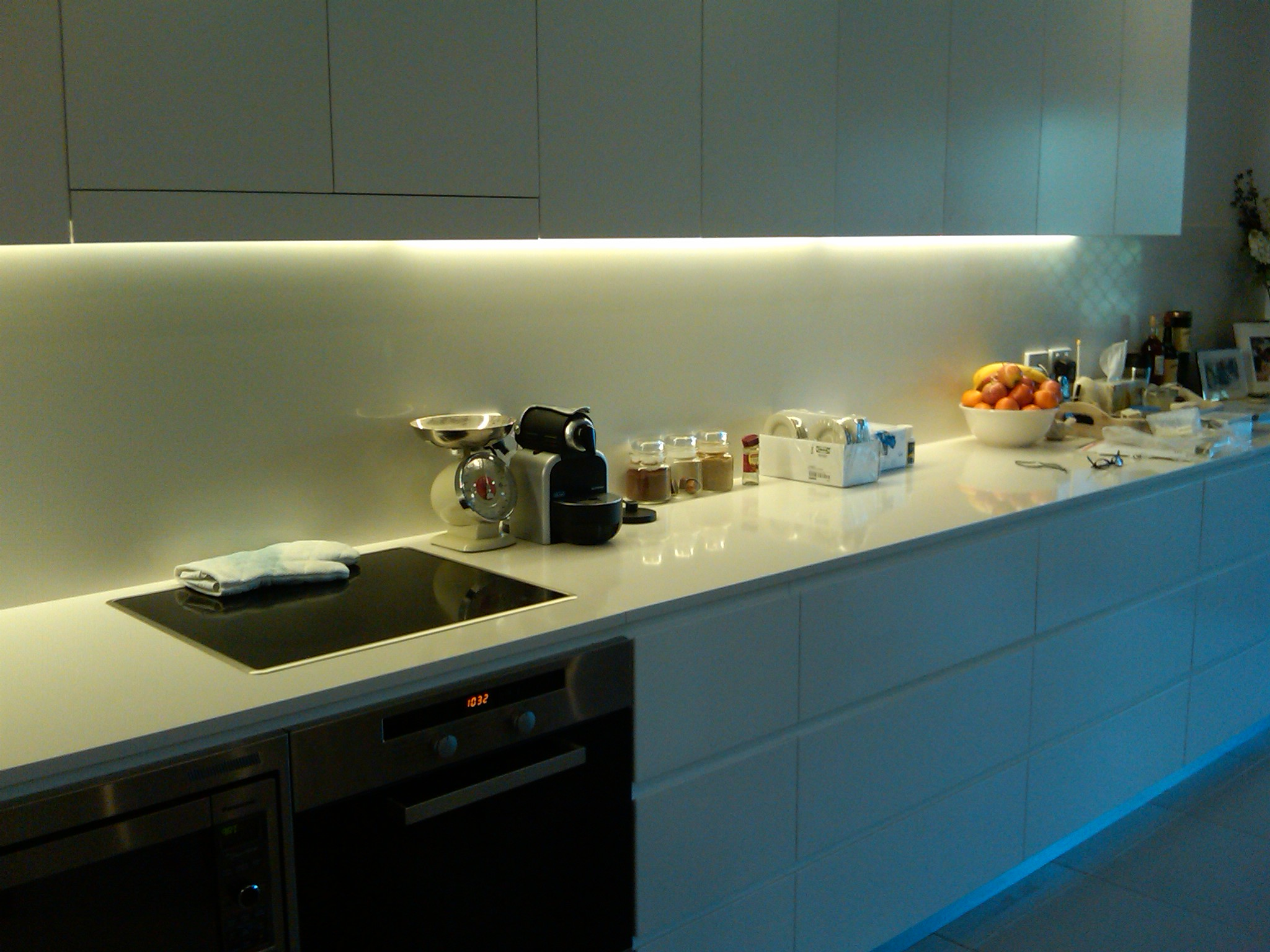 Contemporary LED Strip Lighting Installation Dropped Ceiling. kitchen . led kitchen lighting