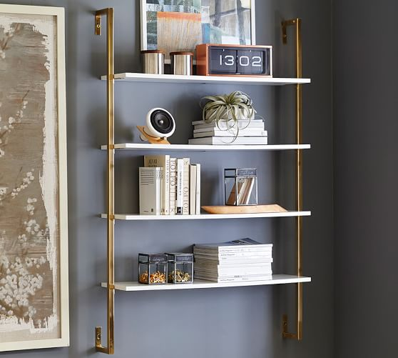 Contemporary Olivia Wall Mounted Shelves | Pottery Barn wall mounted bookcase