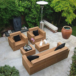 Contemporary patio furniture out of wood pallets | Other Wood Outdoor Patio Furniture At wooden garden lounger