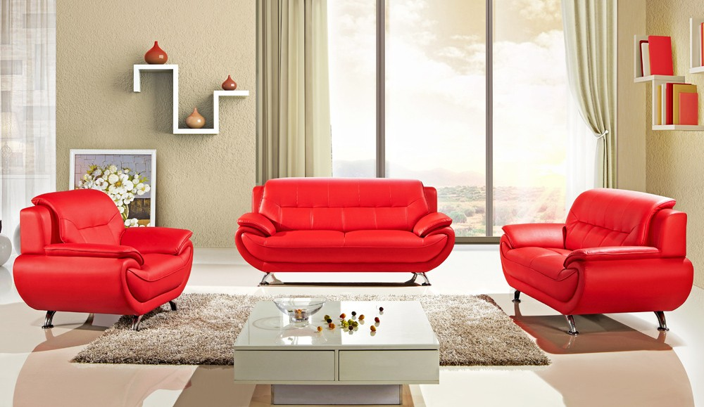 Contemporary Sabina Red Leather Sofa Set red sofa set