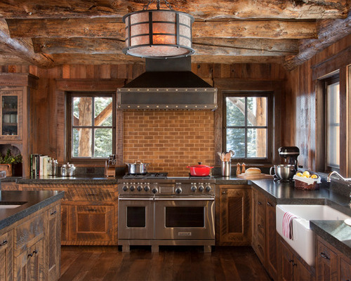Contemporary SaveEmail rustic wood kitchen cabinets