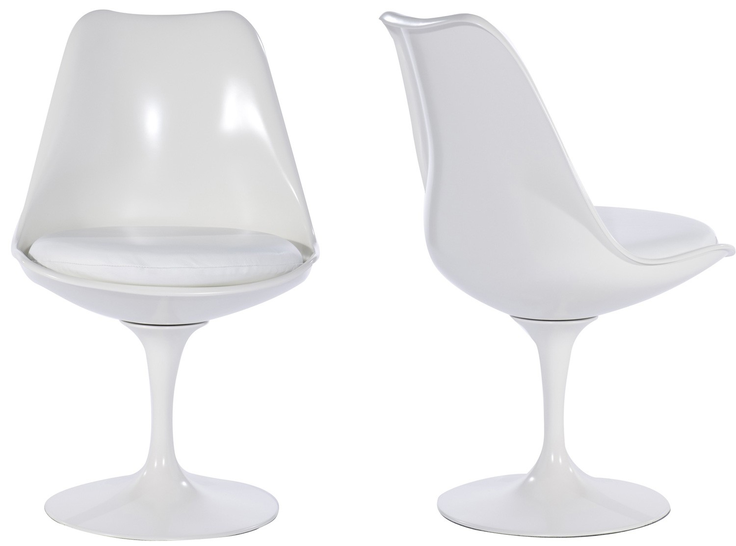Contemporary Tulip Chair by Eero Saarinen Fiberglass (Platinum Replica) Pictured in White white tulip chair