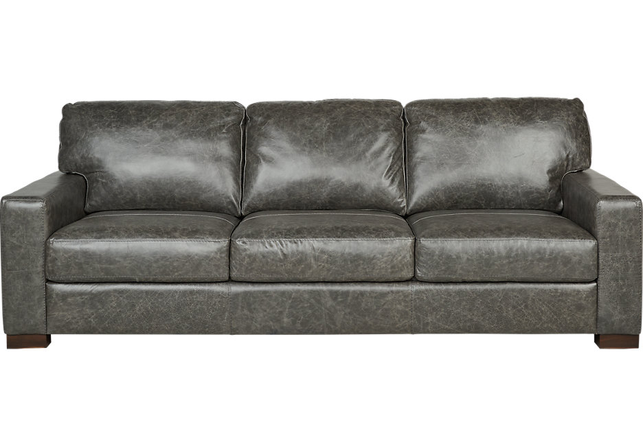 Contemporary Vicario Gray Leather Sofa - Leather Sofas (Gray) gray leather sofa