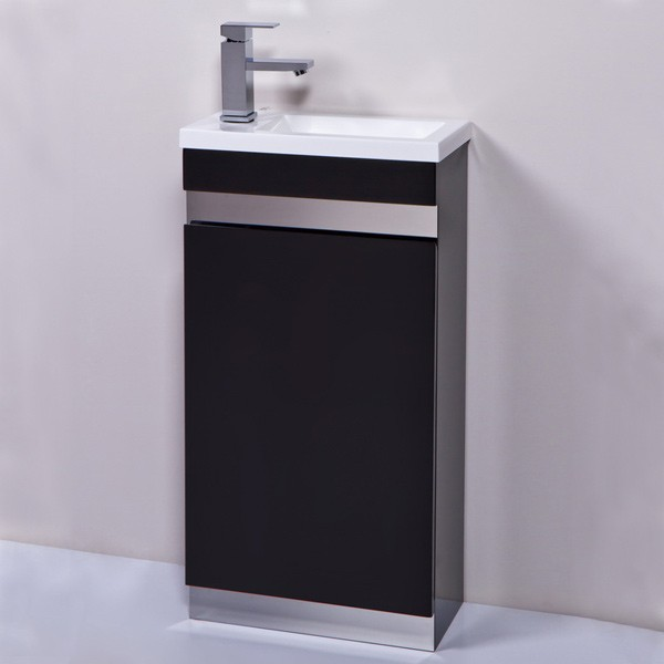 Contemporary Vigo 420mm black cloakroom vanity unit. A stylish vanity unit which is cloakroom vanity unit