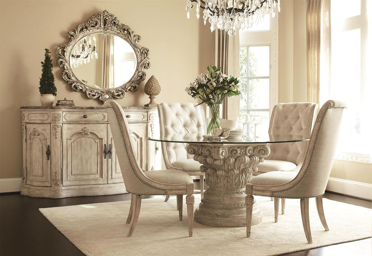 Contemporary Vintage inspired dining room glass top dining room sets