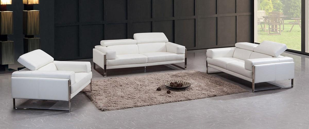 Master Divani Casa Livorno Modern White Leather Sofa Set Contemporary White  Leather Sofa