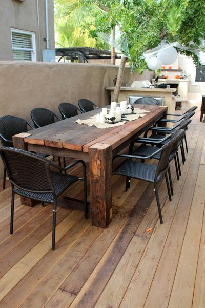 Cool Beautiful wooden table. Maybe something like this for the patio for when we wooden outdoor table