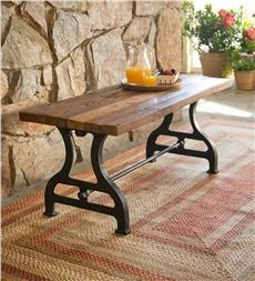 Cool Birmingham Indoor/Outdoor Reclaimed Wood Bench With Iron Base http://www. wood patio furniture clearance