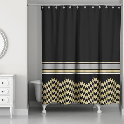 Cool Chic Weighted Shower Curtain in Black/Gold black and gold shower curtain