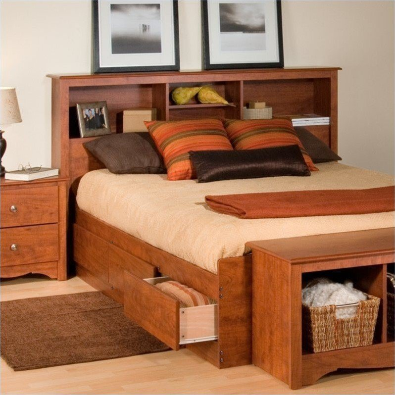 Cool Full / Queen Bookcase Headboard in Cherry Finish queen bed with bookcase headboard