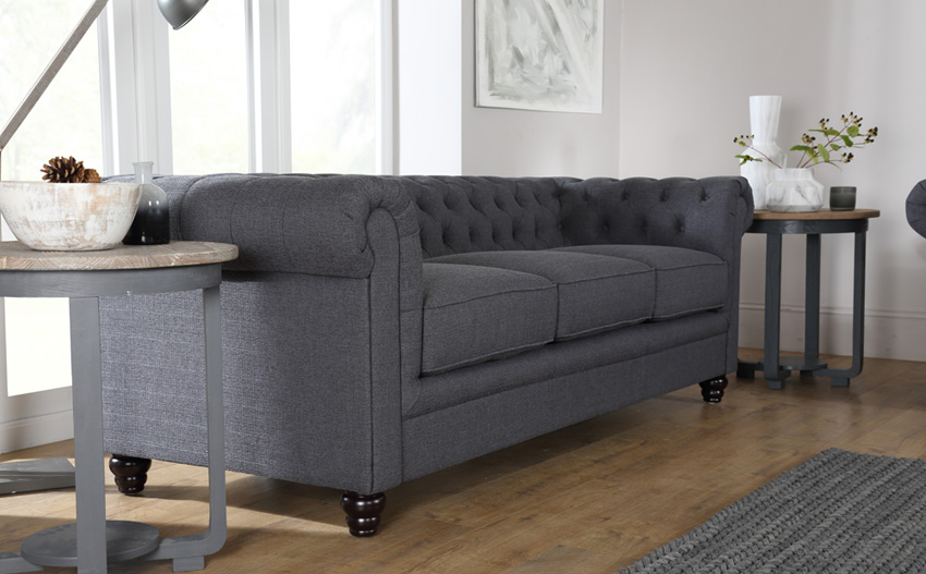 Cool Hampton Fabric Chesterfield Sofa Suite 3+2 Seater (Slate Grey) fabric chesterfield sofa