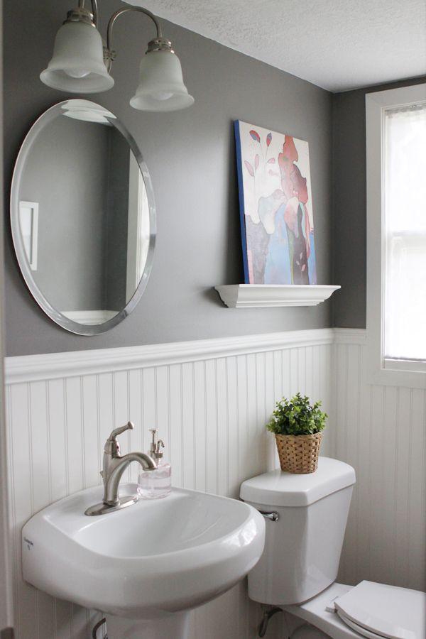 Cool HOME TOUR // HALF BATH white beadboard bathroom