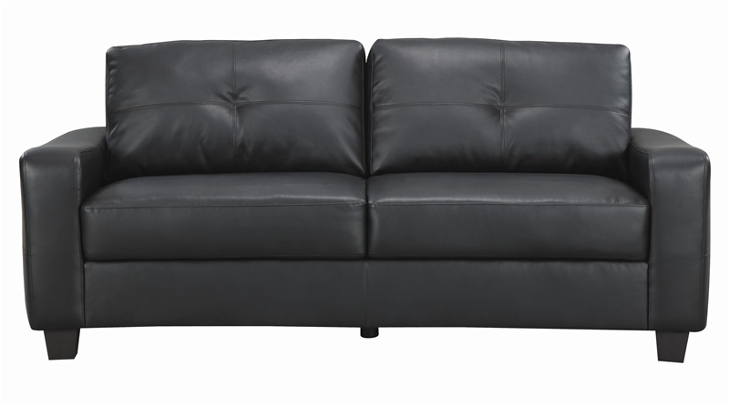 Cool Jasmine Rich Black Leather Loveseat by Coaster - 502722 black leather loveseat