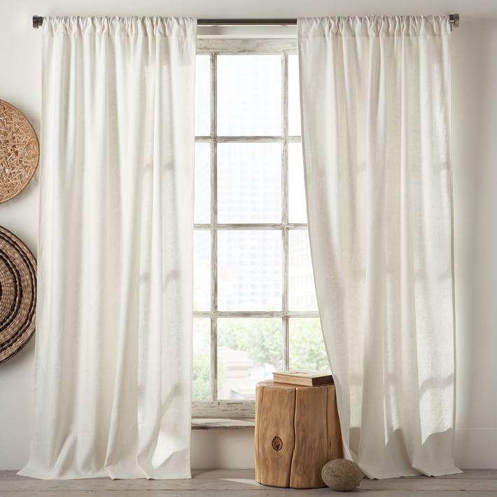 Cool Linen Cotton Curtain - Stone White   west elm white linen curtains