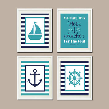 Cool Nautical Nursery Decor Wall Art Navy Anchor Sailboat Wheel Hebrews 6:19 anchor bathroom decor