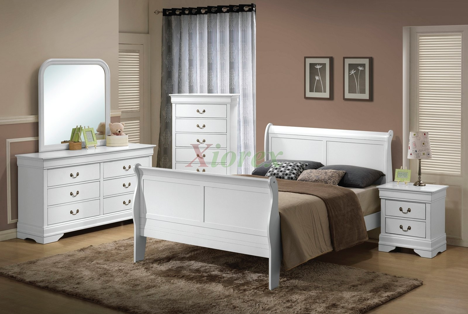 Cool ... Semi Gloss Sleigh Like Bedroom Furniture Set 170 In Cherry Black white bedroom furniture sets