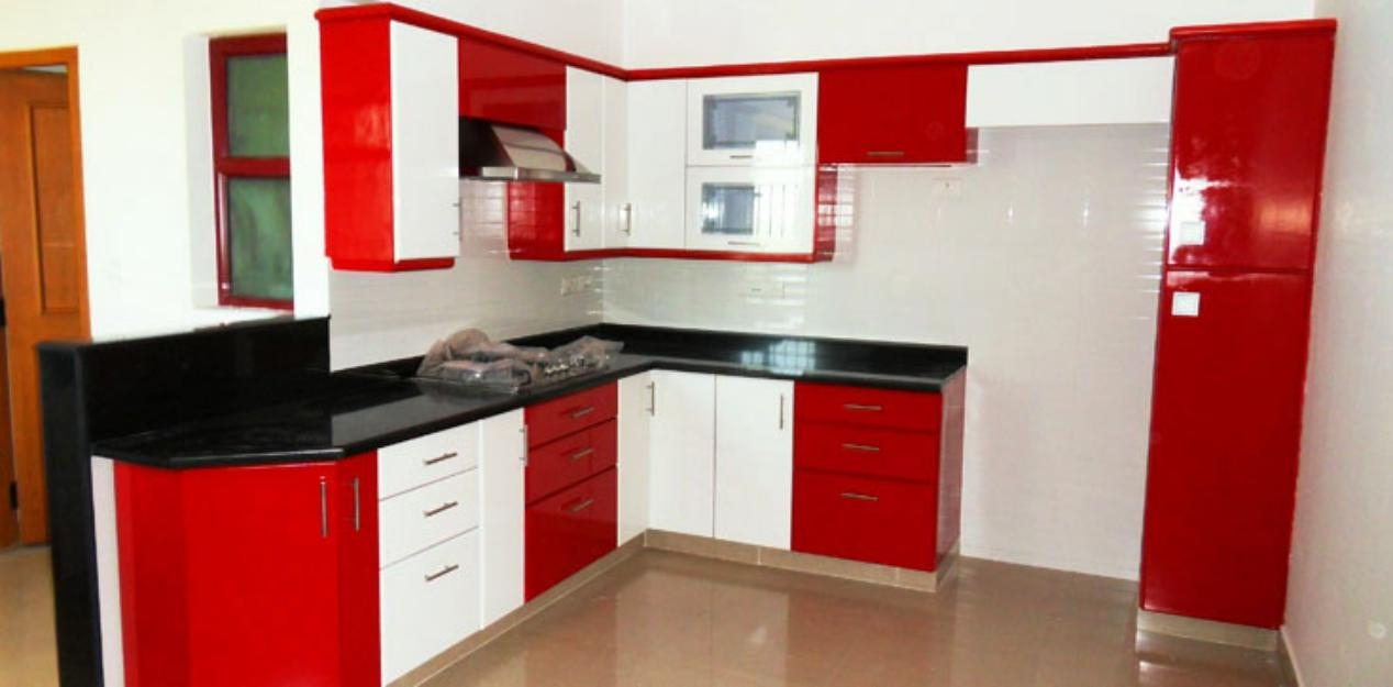 Cool Small Red White Modular Kitchen L Shaped Layout red and white kitchen designs