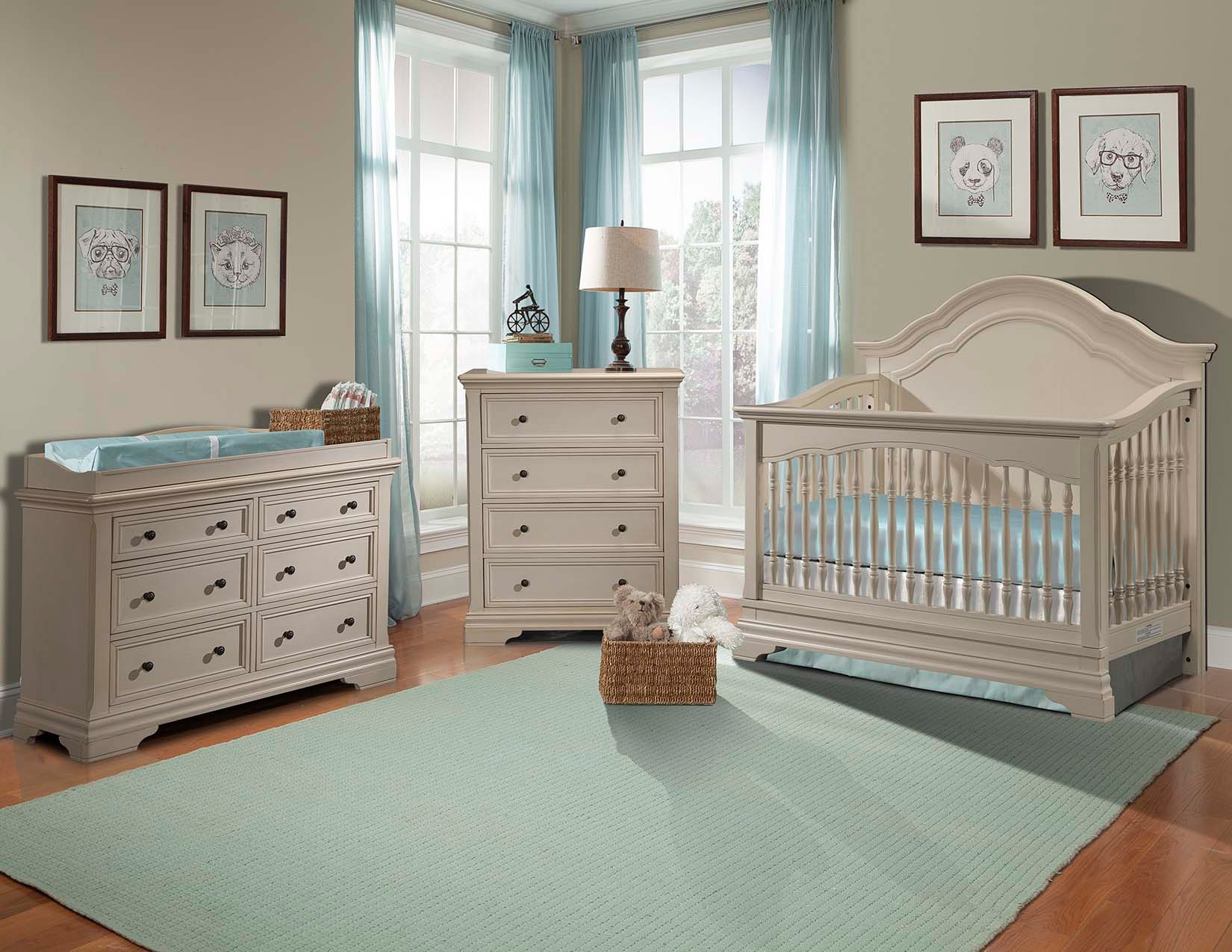 Cool Stella Baby and Child Athena 3 Piece Nursery Set in Belgium Cream baby nursery furniture sets