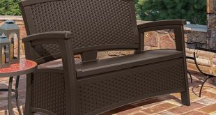 Cool Suncast ELEMENTS Loveseat with Storage suncast patio storage bench