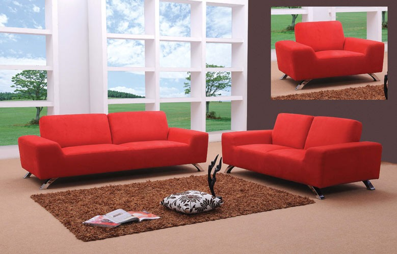 Cool Sunset Modern Red Sofa Set red sofa set