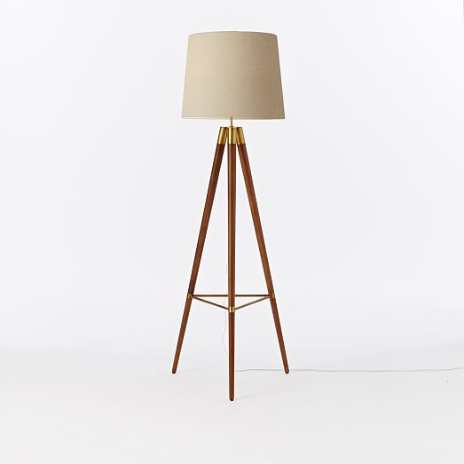Cool ... Wood Tripod Floor Lamp - Walnut. View Larger. Roll Over Image wooden tripod floor lamp