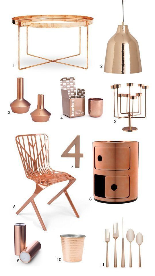 Elegant Color Forecast: Cool Copper Accessories copper decorative accessories