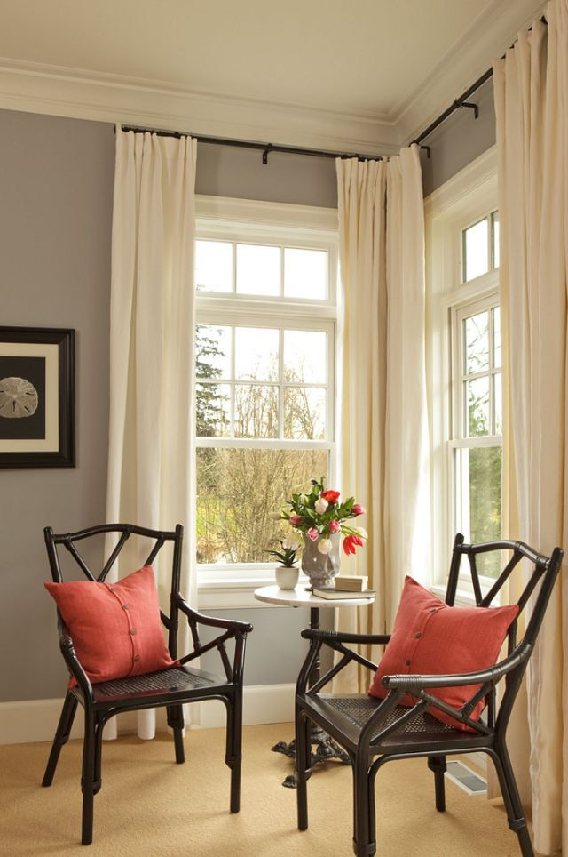 Awesome This room has the perfect combination of gray, black, cream, red and aqua. corner window curtain rod