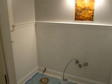 Stunning beadboard over tile cover bathroom tile with beadboard