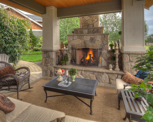 Unique SaveEmail covered patio with fireplace