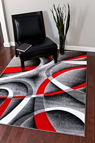Exceptional Cozy 5u00272 X7u00272 Modern Abstract Area Rug Carpet Gray Black Red White  Swirls Red Black And