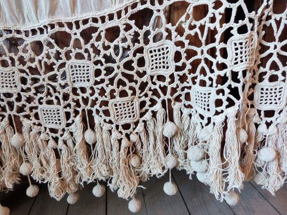 Cozy Antique French crochet curtain drape, crocheted window curtain drapery  handmade crocheted lace, crochet lace curtains