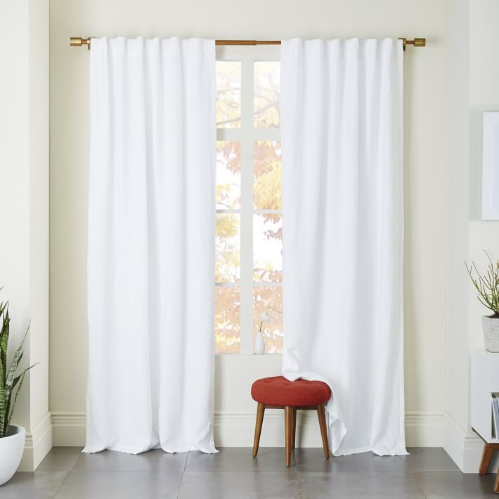 Cozy Belgian Flax Linen Curtain - White   west elm white linen curtains