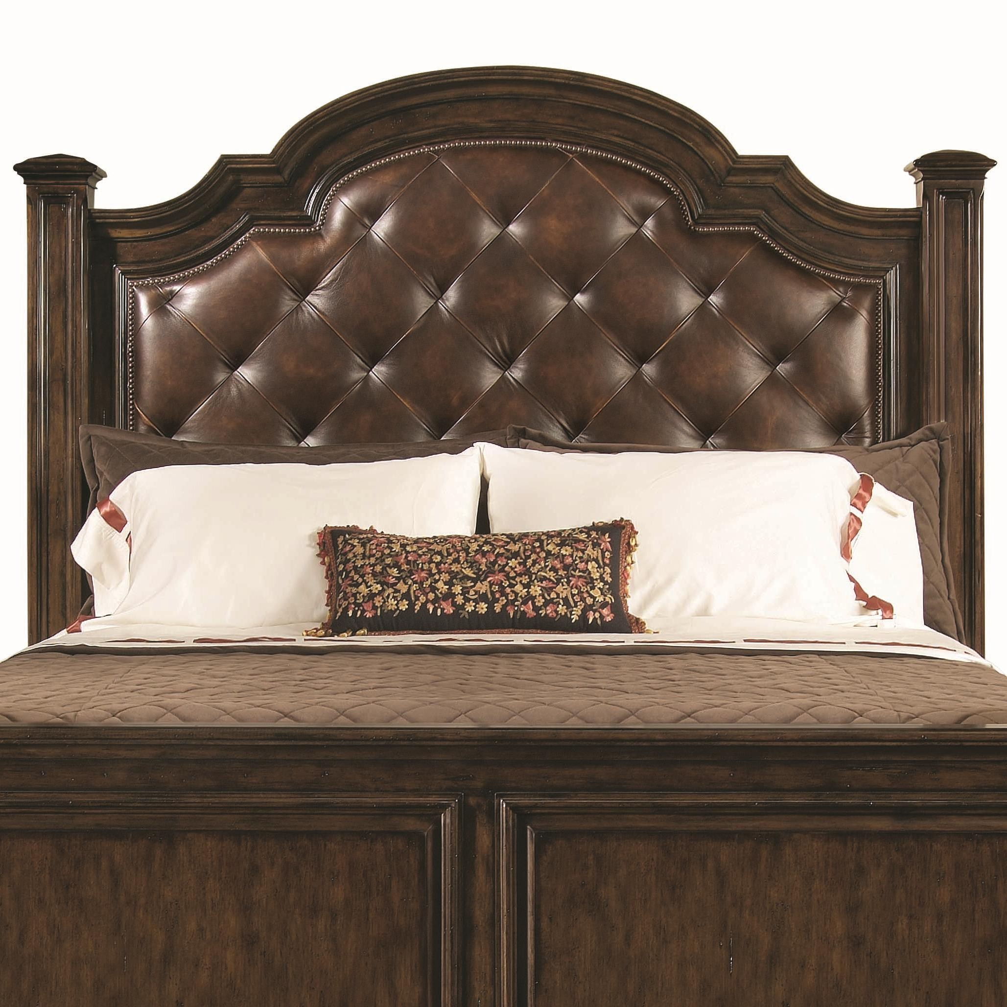 Cozy Bernhardt Normandie Manor Queen-Size Button-Tufted Leather Upholstered  Headboard with Nailhead Trim leather upholstered headboard