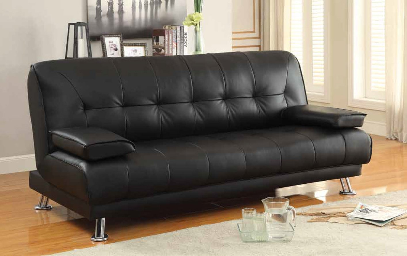 Cozy Black Leather Sofa Bed black leather sofa bed