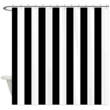 Cozy CafePress - Black and White Stripe Shower Curtain - Decorative Fabric Shower black and white striped shower curtain