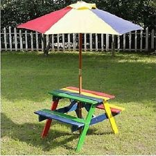 Beautiful Children Garden Bench Wooden Picnic Table Outdoor Kids Play Patio  Furniture Set Kids Garden Furniture
