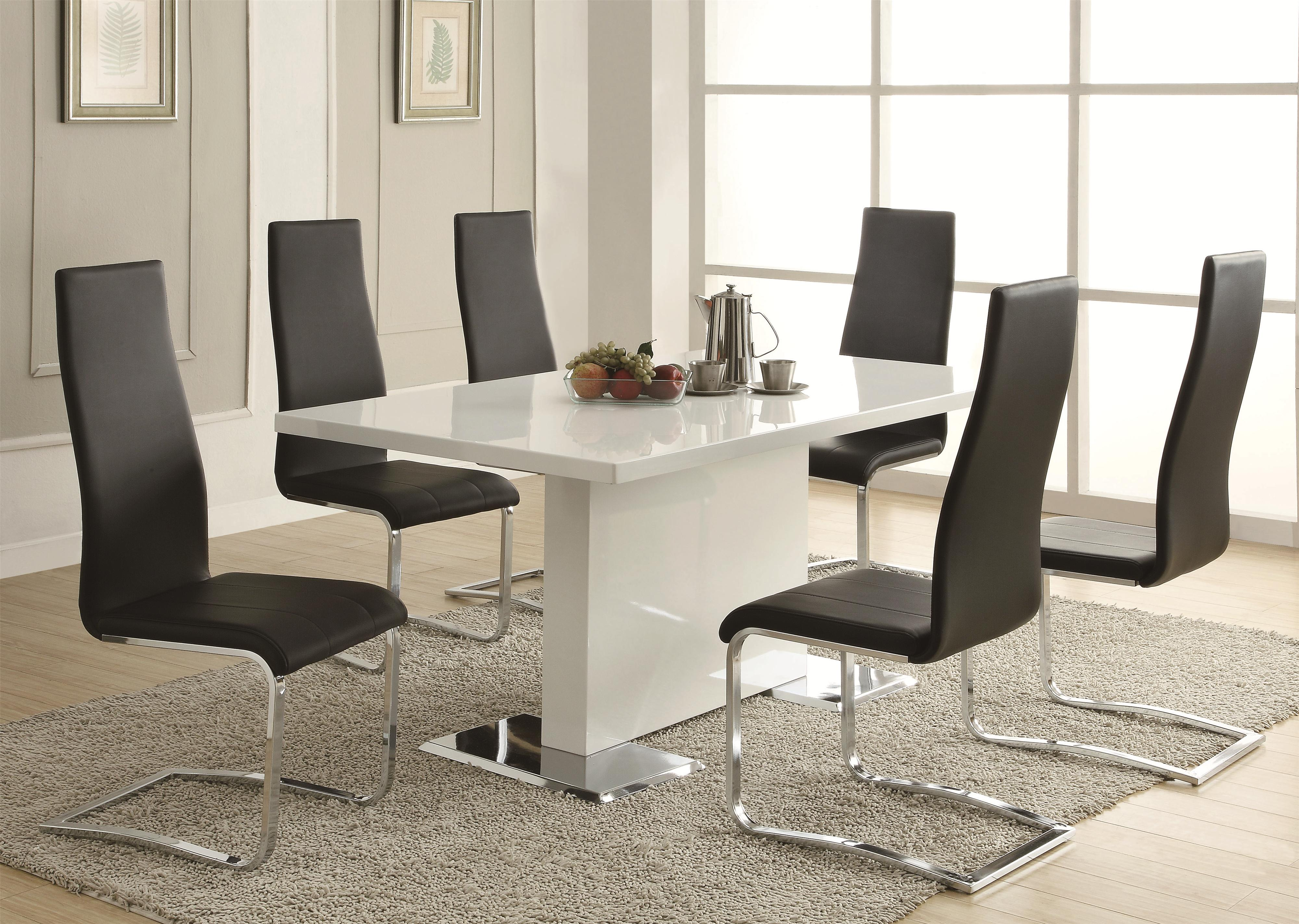 Cozy Coaster Modern Dining 7 Piece White Table u0026 White Upholstered Chairs Set - modern dining table sets